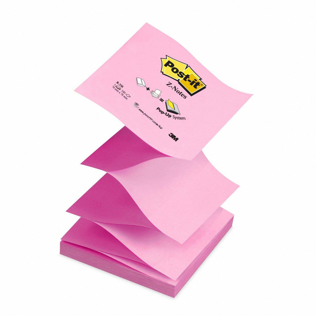 Post-it Z Notes - Neon and Pastel Pink - 12 Pads Per Pack - 100 Sheets Per Pad - 76 mm x 76 mm