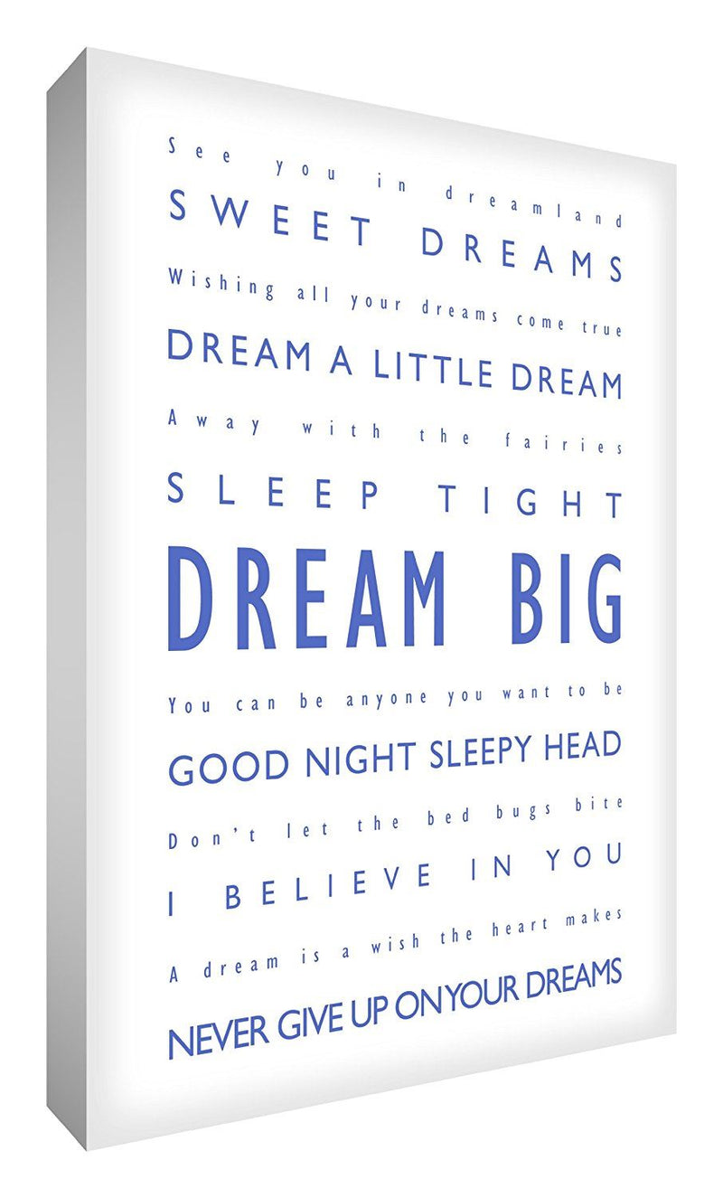 Feel Good Art 36 x 24-inch Dream Big A1 Modern Typographic Thick Box Canvas, Blue on White