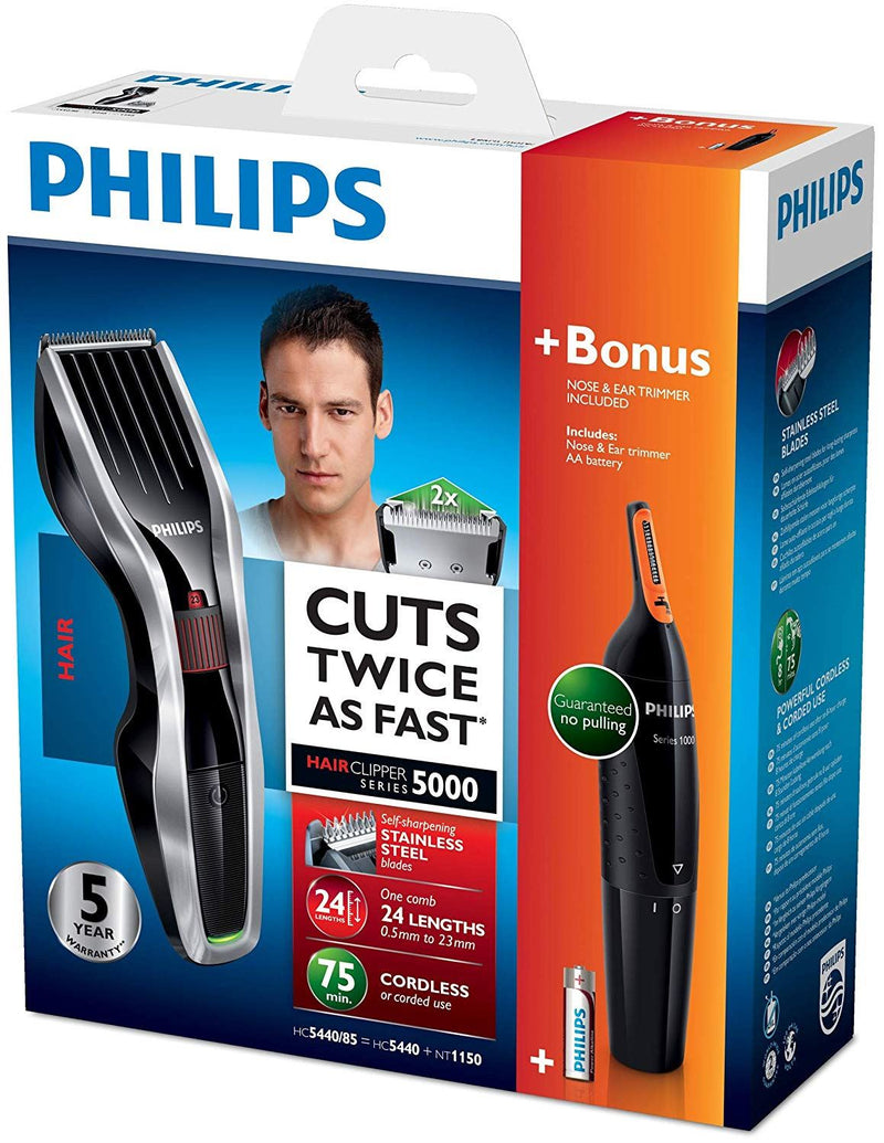 Philips Series 5000 Hair Clipper with Titanium Blades, Nose, Ear & Eyebrow Trimmer - HC5440/93