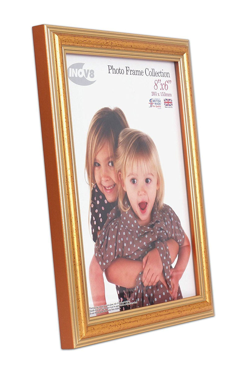Inov8 British Made Traditional Picture/Photo Frame, 8x6-inch, Gold 600