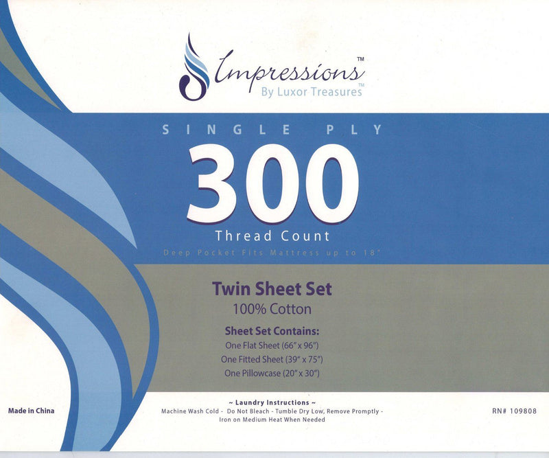 Impressions 300 Thread Count Brook Hill Sheet Set, Twin, Cotton, Multi-Colour