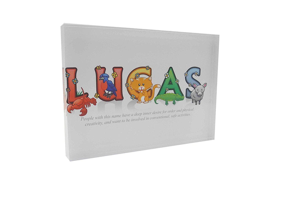 Feel Good Art 10.5 x 7.4 x 2 cm Boy's Name with Meaning Lucas A7 Diamond Polished Acrylic Token, Multi-Colour