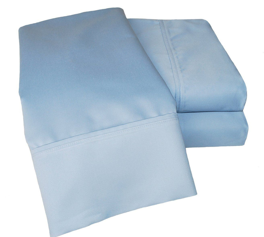 Impressions 1000 Thread Count/Deep Pocket/Soft/Wrinkle Resistant Bed Sheet Set, Cotton Blend, Solid Light Blue, King Size, 4-Piece