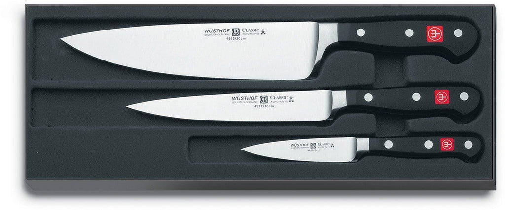 "USED Wusthof - Three Piece Cook's Set - 3 1/2"" Paring Knife, 6"" Utility Knife, and 8"" Cook's Knife (9608)"
