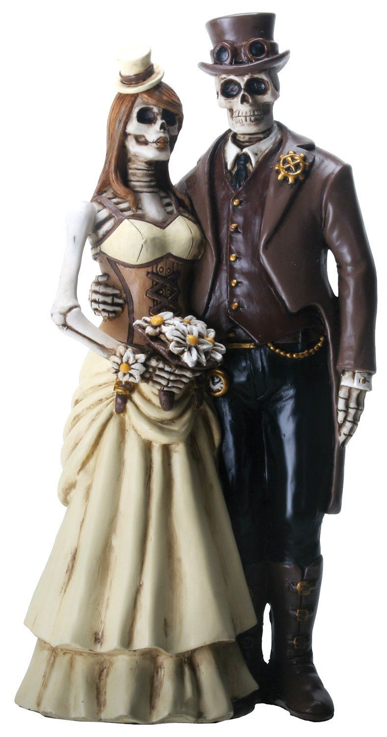 Nemesis Now YTC 8 Inch Steampunk Skeleton Wedding Couple Statue Figurine, Brown