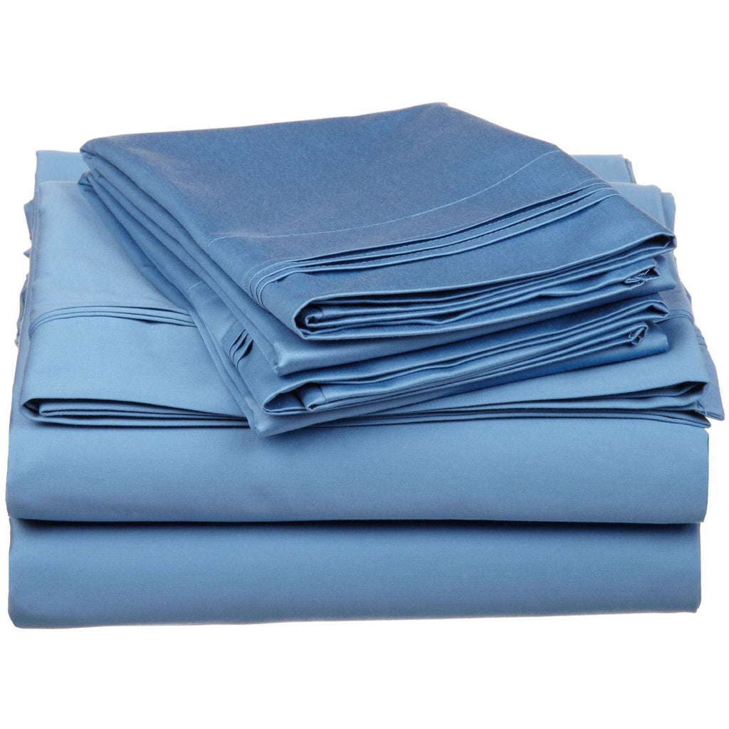 100% Premium Long-Staple Combed Cotton 650 Thread Count, Full 4-Piece Sheet Set, Deep Pocket, Single Ply, Solid, Medium Blue