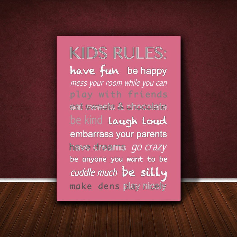 Feel Good Art 24 x 36 x 1.5-inch Thick A1 Kids Rules Canvas Box, Vintage Pink