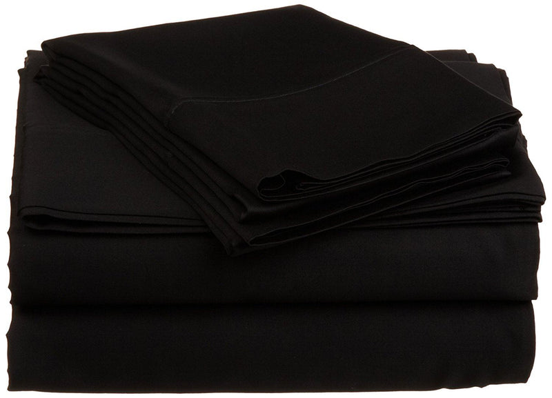 Impressions 530 Thread Count Twin Sheet Set, Egyptian Cotton, Black, X-Large, 3-Piece