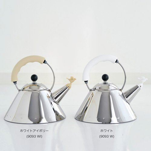 Alessi Kettle in 18/10 Stainless Steel Mirror Polished with Handle and Small Bird-Shaped Whistle in Pa, White