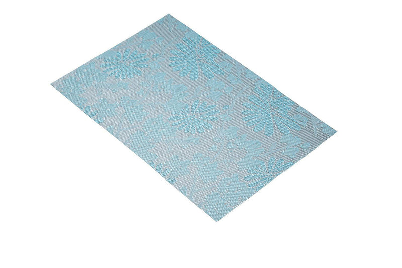 Kitchen Craft Woven Vinyl Placemat, 30 x 45 cm (12' x 17.5') - Floral Blue