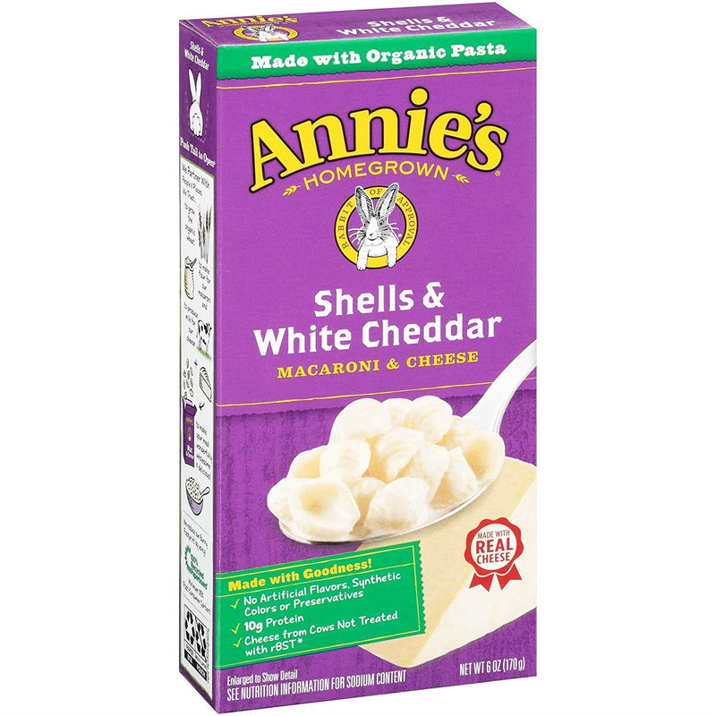 Annie's Homegrown Shells & White Cheddar, 170g Box
