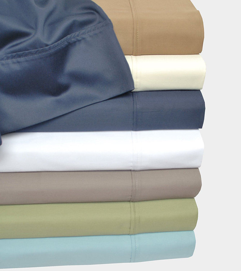 Impressions 500 Thread Count Single Ply Solid Bed Sheet Set, Cotton, Navy Blue, King, 4-Piece