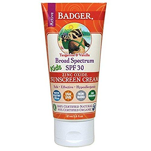 Badger Company Active Kids Zinc Oxide Sunscreen Cream SPF 30 Tangerine & Vanilla 87 ml