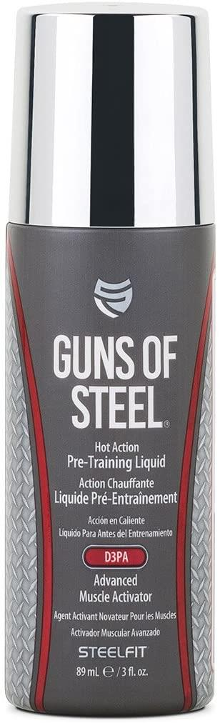 SteelFit Guns of Steel - Topical Hot Action Pre Training Liquid with D3PA - Advanced Muscle Activator - Mind Blowing Pump - Gains - Nitric Oxide - Pre Workout - Use on Biceps, Triceps - 3 fl. oz.