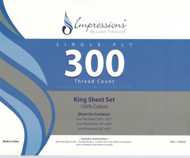 Impressions 300 Thread Count Walton Sheet Set, Multi-Colour, King,