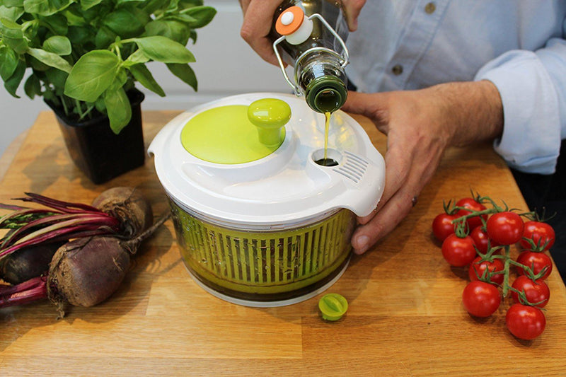 Small Salad Spinner with clear serving bowl, colander basket, smart-lock lid, easy drain system, non-slip base. 16cm|6in diam. Washes, dries & dresses lettuce, herbs, vegetables & fruit. Compact, ideal for 2 people.