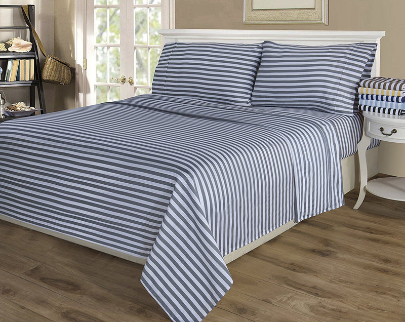 Impressions 600 Thread Count Deep Pocket Soft Wrinkle Resistant Bedsheet Set in Cabana Stripe, Cotton Blend, Light Blue, California King, 4-Piece