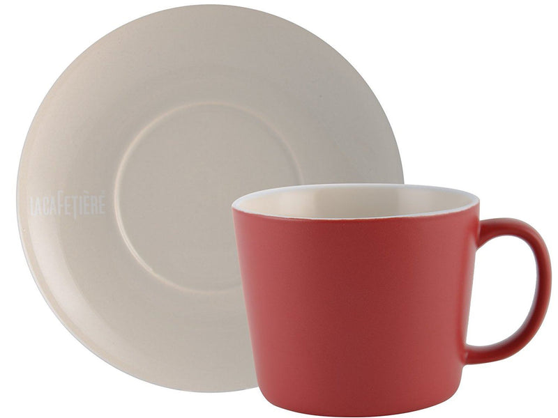 La Cafetiere Rituals Stoneware Cup and Saucer, Matt Red