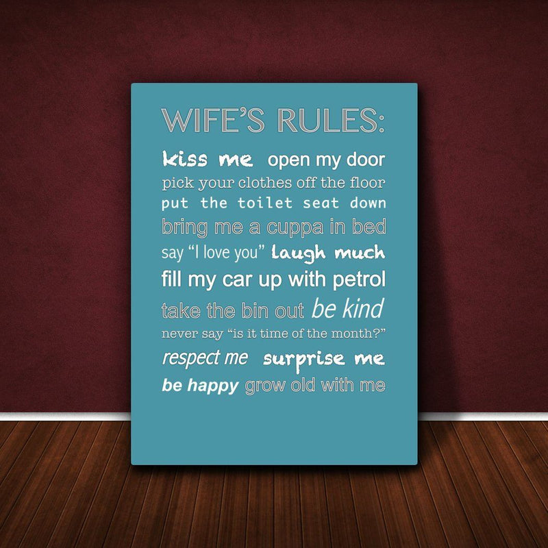 Feel Good Art 12 x 8-inch A4 Small Modern Typographic Wife's Rules Thick Box Canvas, Teal