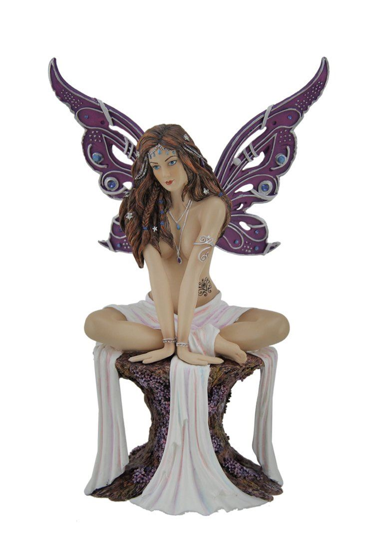 Nemesis Now Resin Statues Amethyst Seductive Purple Butterfly Winged Fairy Statue 5.25 X 8 X 3 Inches Multicolored