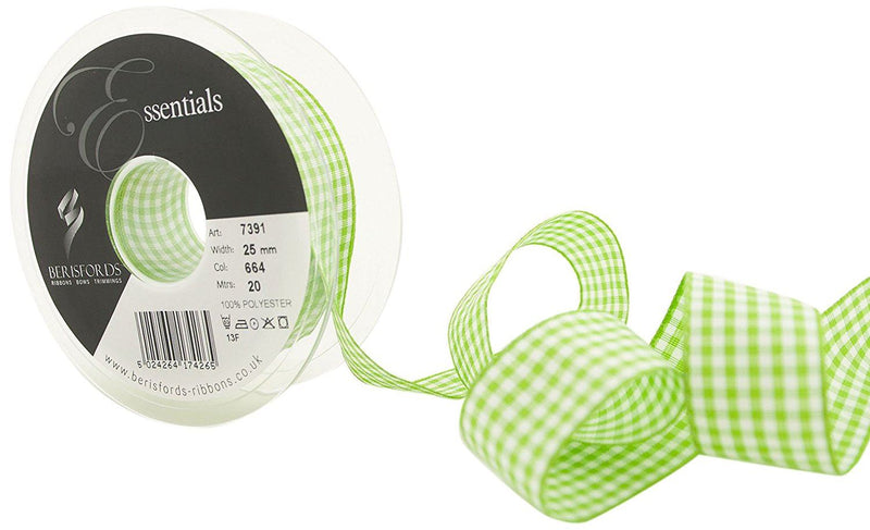 Berisfords 7391 20 m x 25 mm Traditional Check Gingham Ribbon, Meadow