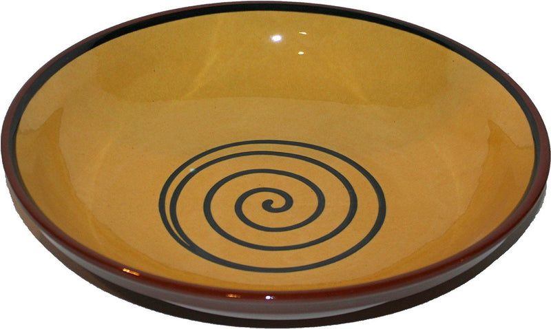 ABS Pottery 38 cm Swirly Bowl, Yellow/ Green