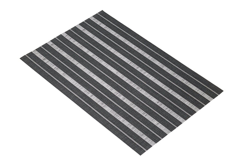 KitchenCraft Woven Vinyl Placemat, 45 x 30 cm (17.5' x 12') - Black / Grey Stripes