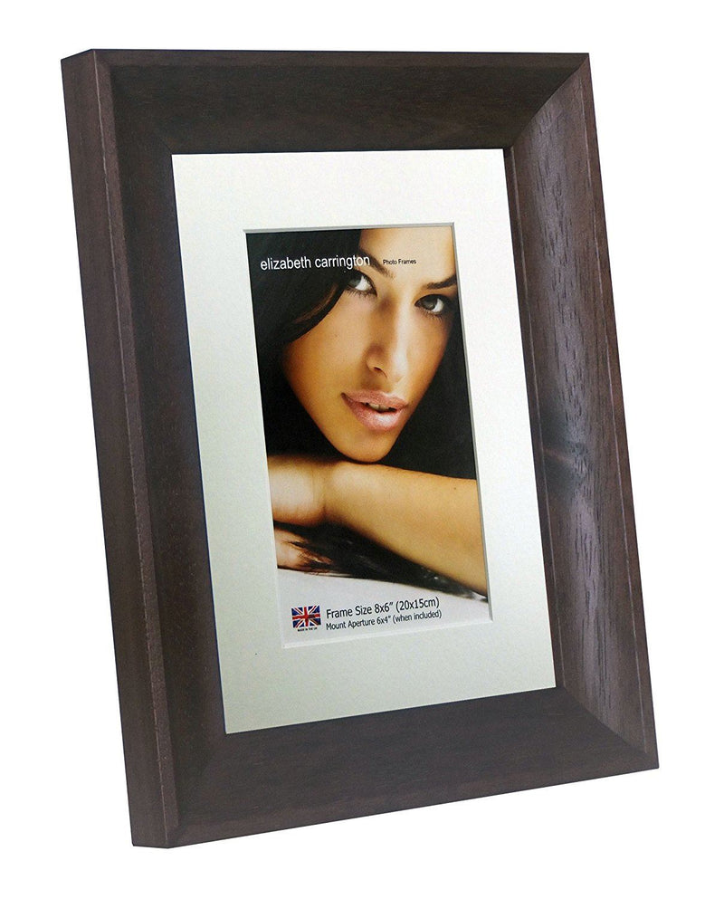 Elizabeth Carrington Premium High Quality,  Dark Walnut Photo/Picture Frame, Budapest Range, 8x6 Inch with 6x4 Inch Removable White Mount, British Made, 100% Timber and PFEC Sourced