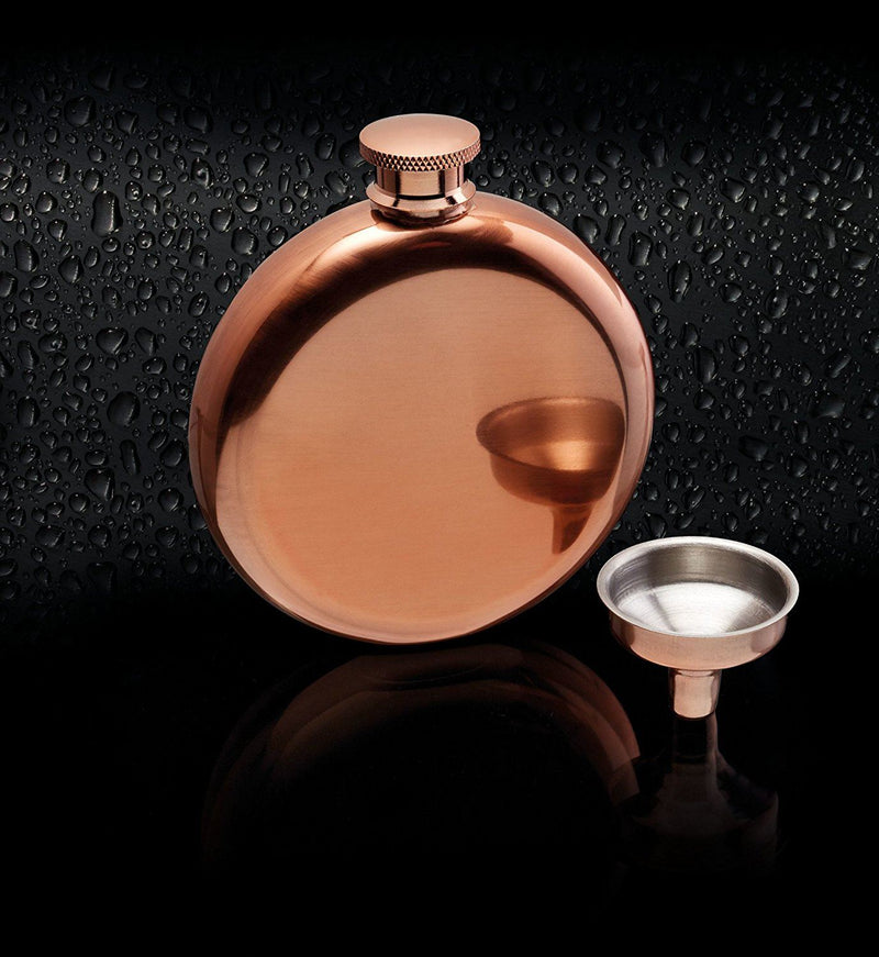 Bar Craft Luxury Stainless Steel Mini Hip Flask with Decanting Funnel, 140 ml (5 fl oz) - Copper Effect