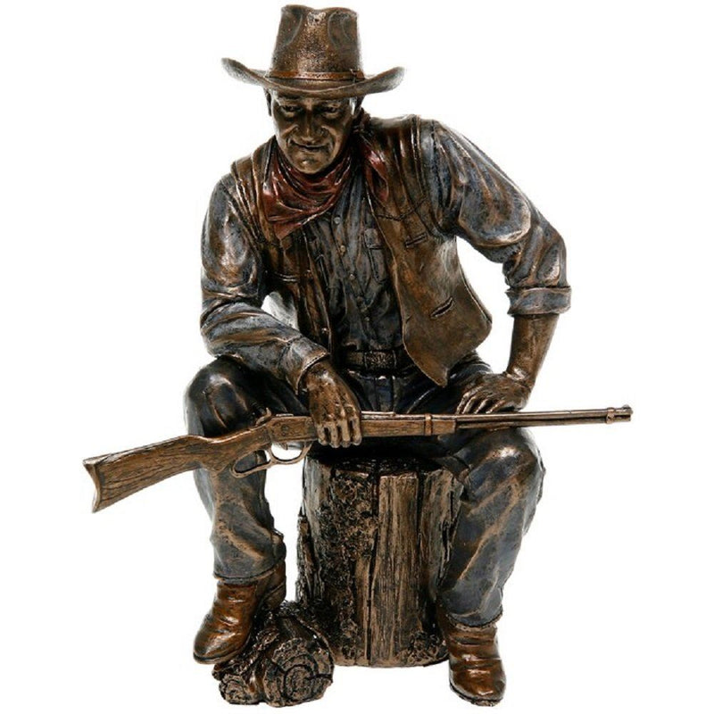 Shudehill Studio Collection John Wayne Sitting On Log Bronze Statue