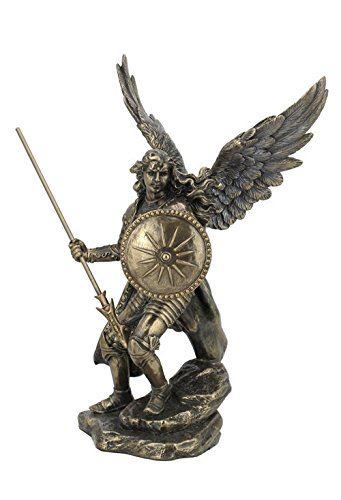 9.37 Inch Cold Cast Bronze Color Archangel Raphael Figurine Statue