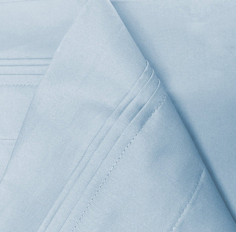 100% Premium Long-Staple Combed Cotton 650 Thread Count, Full 4-Piece Sheet Set, Deep Pocket, Single Ply, Solid, Baby Blue
