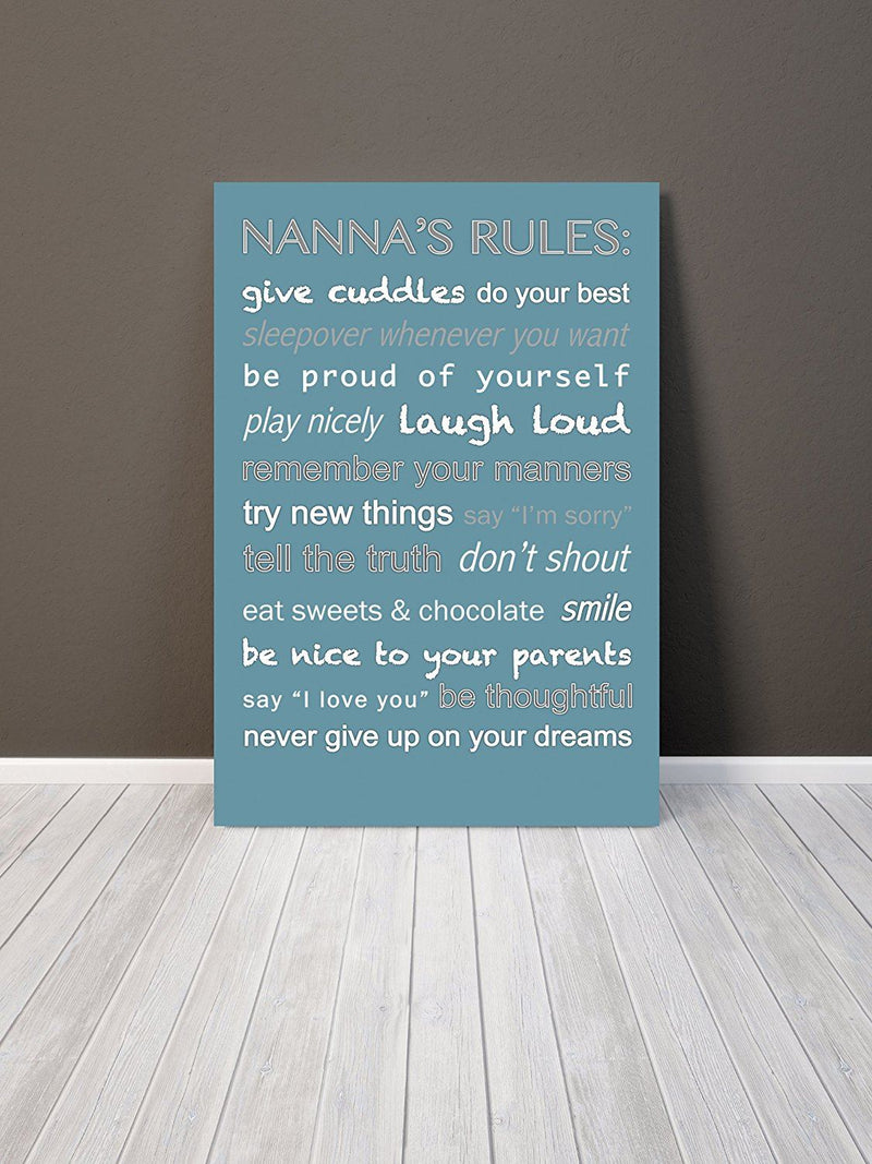 Feel Good Art 24 x 16-inch Thick Box Canvas Nannas Rules, Teal