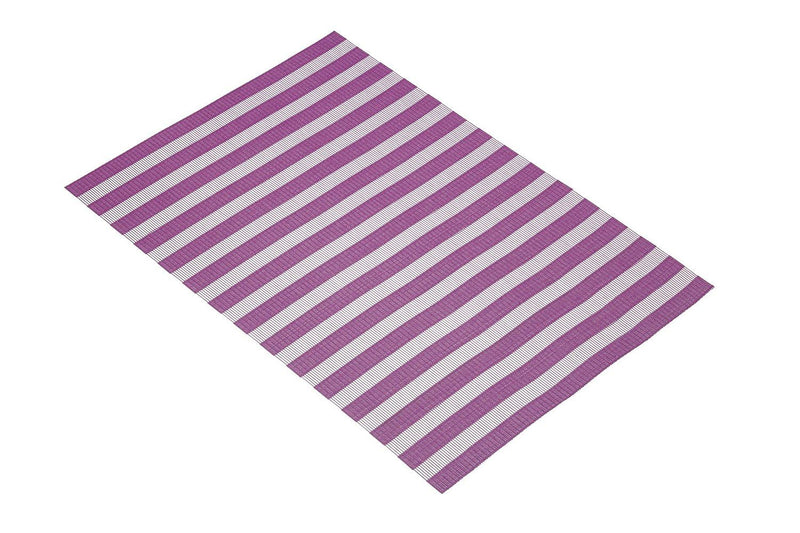 KitchenCraft Woven Vinyl Placemat, 40 x 30 cm (17.5' x 12') - Purple Stripes