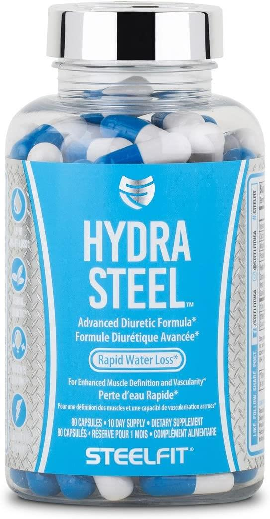 SteelFit Hydra Steel - Natural Diuretic Pills - Maximum Strength - Lose Water Weight - Prevents Bloating - Electrolyte Support - Weight Loss Support - Dandelion Root - 80 Capsules - Made in USA