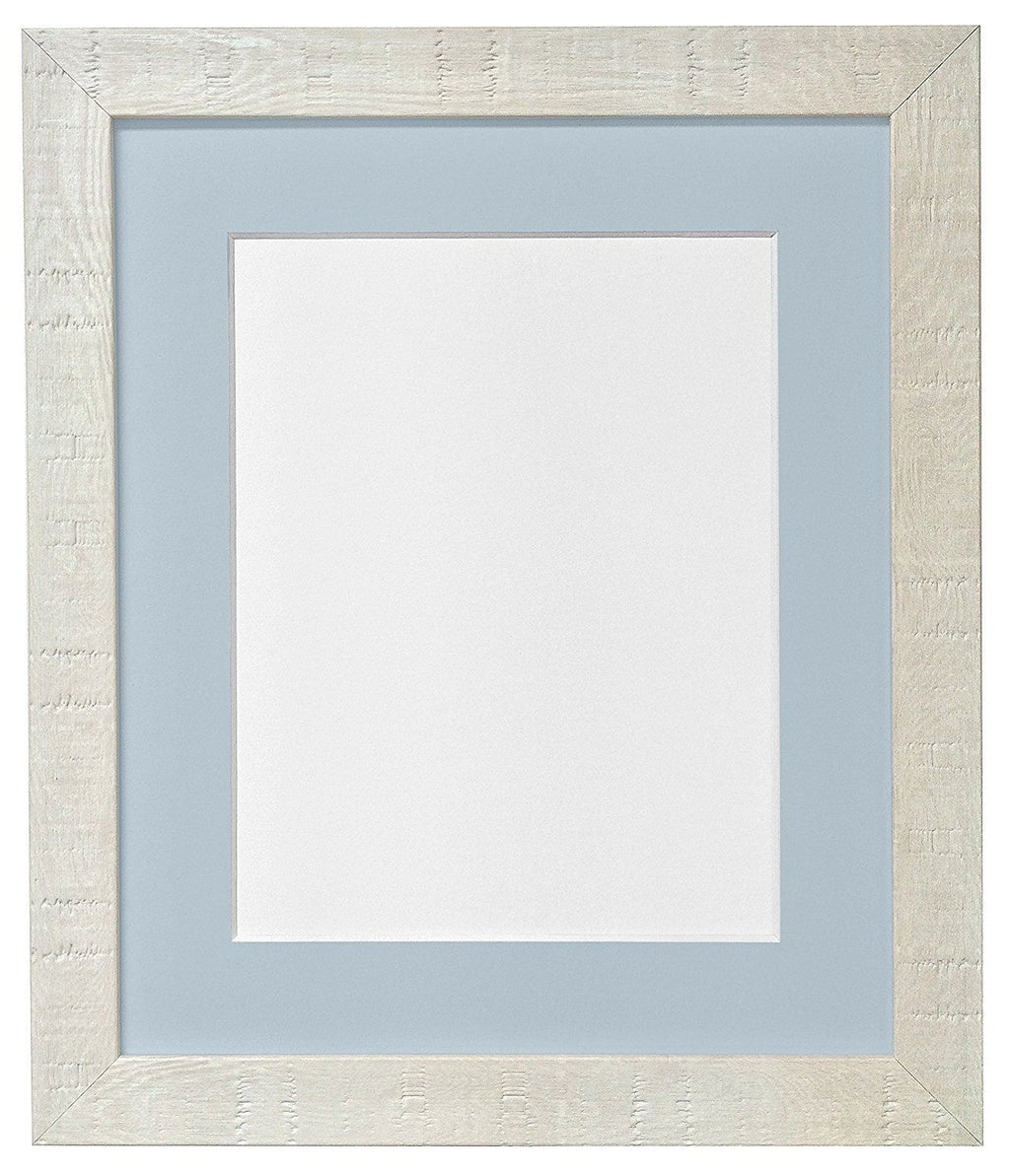 FRAMES BY POST 12 x 10-Inch Deep Grain Picture Photo Frame with Light Blue Grey Mount for 10 x 8-Inch Picture Size, Off-White