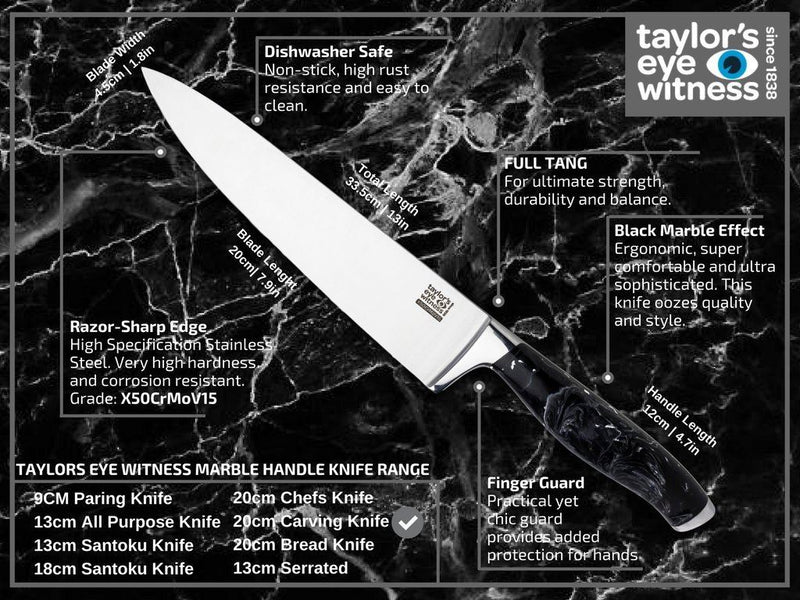 Taylor's Eye Witness Black Marble Chef's Knife 20cm