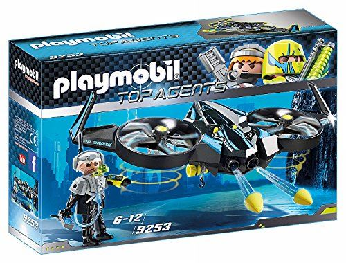 "PLAYMOBIL 9253"" Top Agents Mega Drone with Firing Weapons Toy Set"
