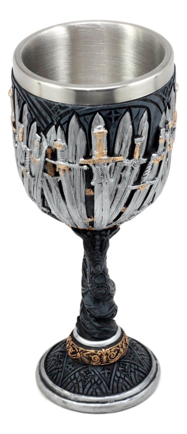 Nemesis Now Medieval Twisted Twin Dragon Iron Throne Legend Of The Swords Wine Goblet Chalice Cup 7'H