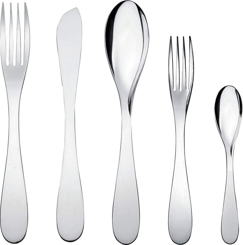 Alessi'eatit' Flatware Set Composed Of One Table Spoon, Table Fork, Table Knife, Dessert Fork, Tea/Coffee Spoon in 18/10 Stainless Steel Mirror Polished, Silver