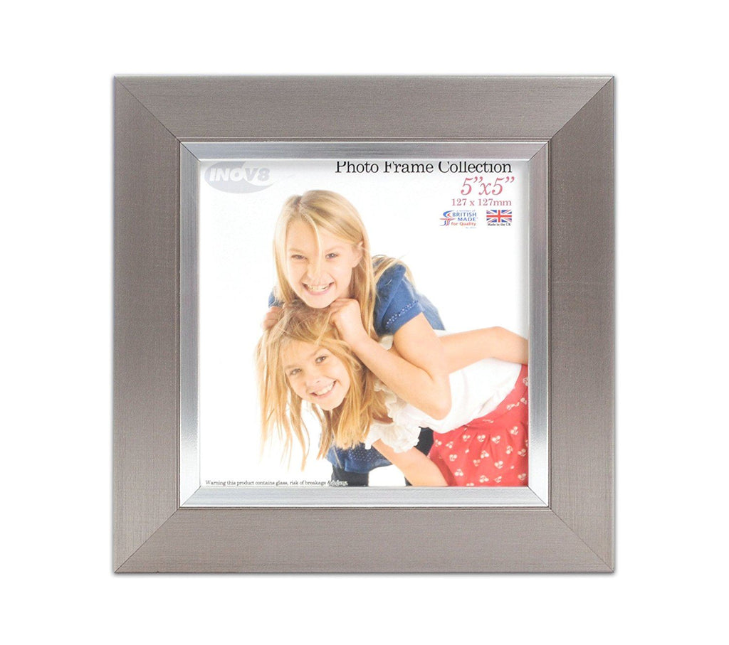 Inov8 British Made Traditional Picture/Photo Frame, Pewter Silver Inset, 5x5-inch, Pewter Silver Inset