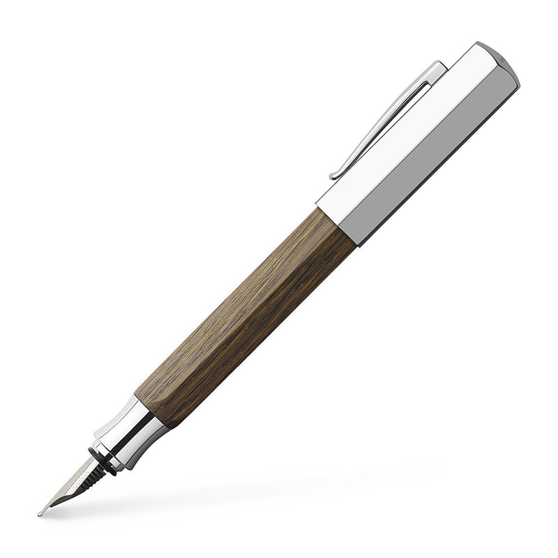 Faber-Castell Ondoro Fountain Pen, Fine Nib (F), Smoked Oak Wood (FC147581)