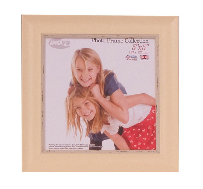 Inov8 British Made Traditional Picture/Photo Frame, Square 5x5-inch, Small Washed Cream