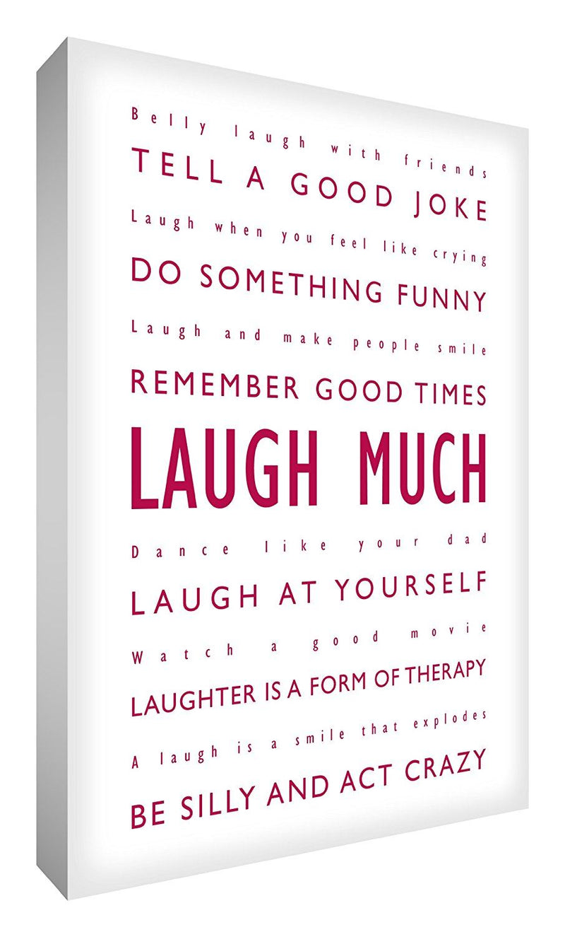 Feel Good Art 12 x 8-inch Laugh Much A4 Modern Typographic Thick Box Canvas, Pinky Red on White