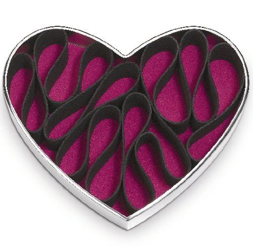 Po Selected Heart Shaped Stainless Steel Perfume and Make Up Holder, 17 x 20  x 5 cm, Silver Black
