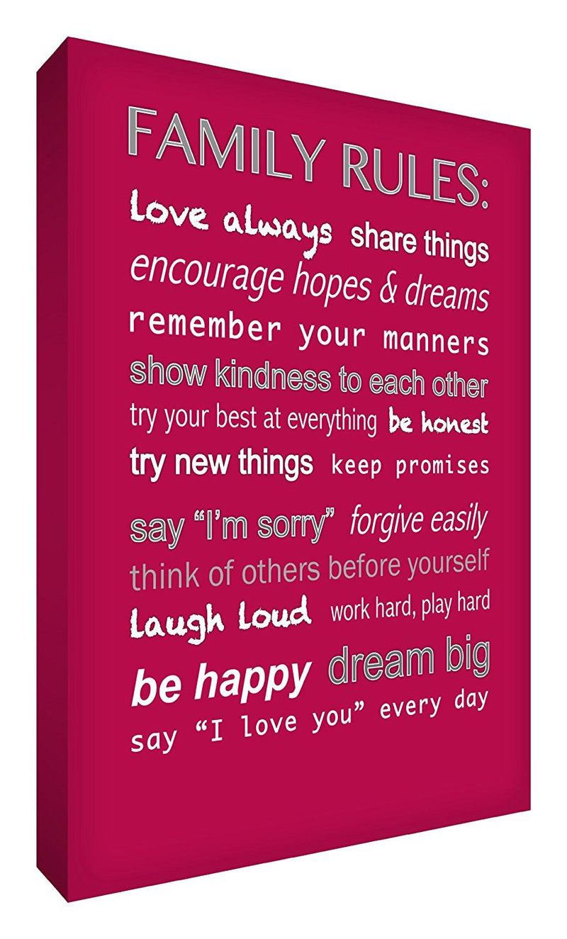 Feel Good Art 12 x 8 x 1.5-Inch A4 Thick Solid Front Panel Family Rules Box Canvas, Raspberry Red