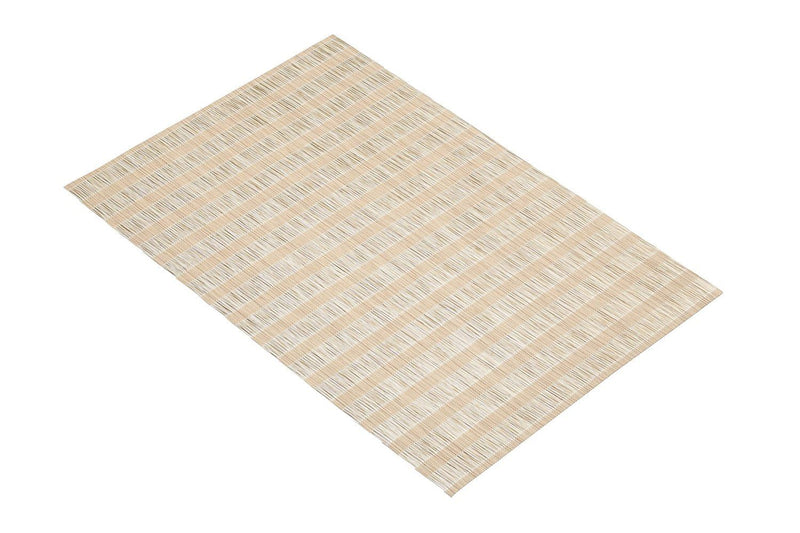 KitchenCraft Woven Vinyl Placemat, 45 x 30 cm (17.5' x 12') - Brown and Beige Stripes