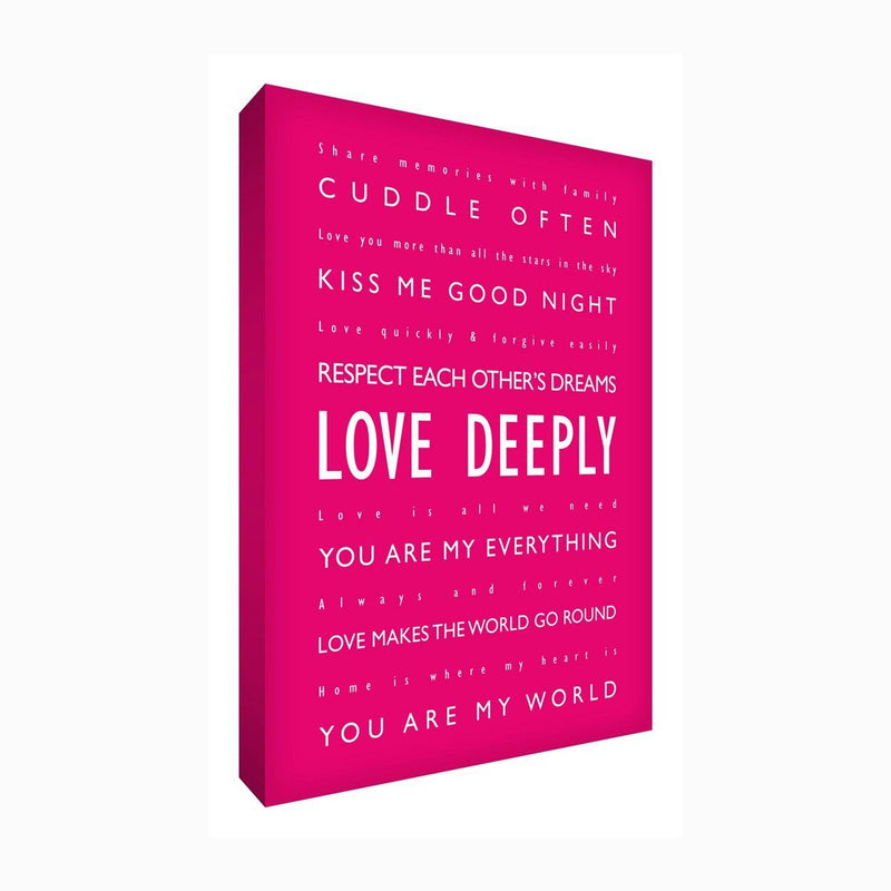 Feel Good Art 12 x 8-inch A4 Modern Typographic Thick Box Canvas Love Deeply, Hot Pink