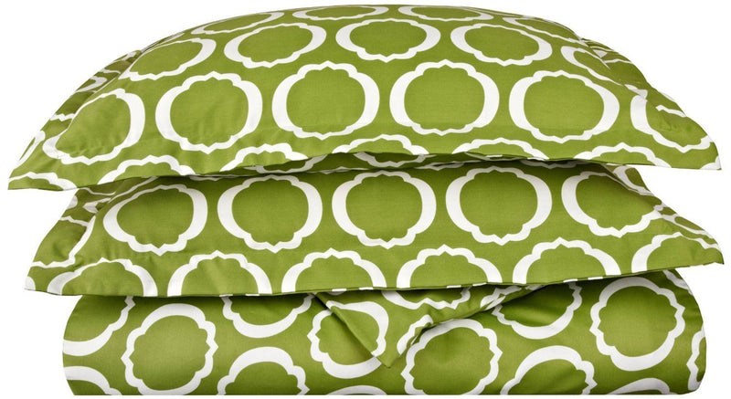 Impressions 600 Thread Count/Soft/Wrinkle Resistant Duvet Cover Set, Cotton Blend, Scroll Park Green, King/California King Size, 3-Piece
