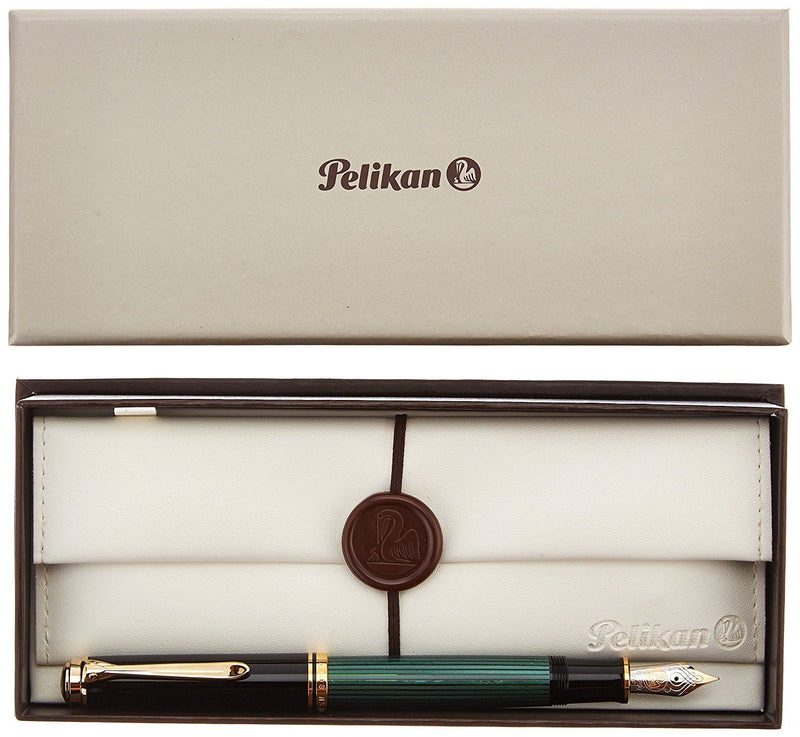 Pelikan Souveran 600 Fountain Pen- Extra Fine Nib - Black & Green